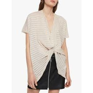 All Saints Itat Stripe Twist Knit Drape Top Large